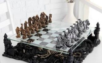3d dragon pewter-top quality chess set-2inch high king-pewter and great display piece