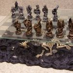 3d-dragon-pewter-top-quality-chess-set-2inch high-king-pewter-on-the-beige-floor-and-great-display-pieces-with-silver-and-gold-color