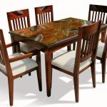 6 Chairs And Glass Wooden Table Of Small Dinette Set