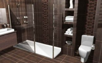 A bathroom floor  plan in 3D version which presents a glass framed shower space without door built in shleves a toilet fixture a floating bathroom vanity with built in sink and faucet a frameless mirror