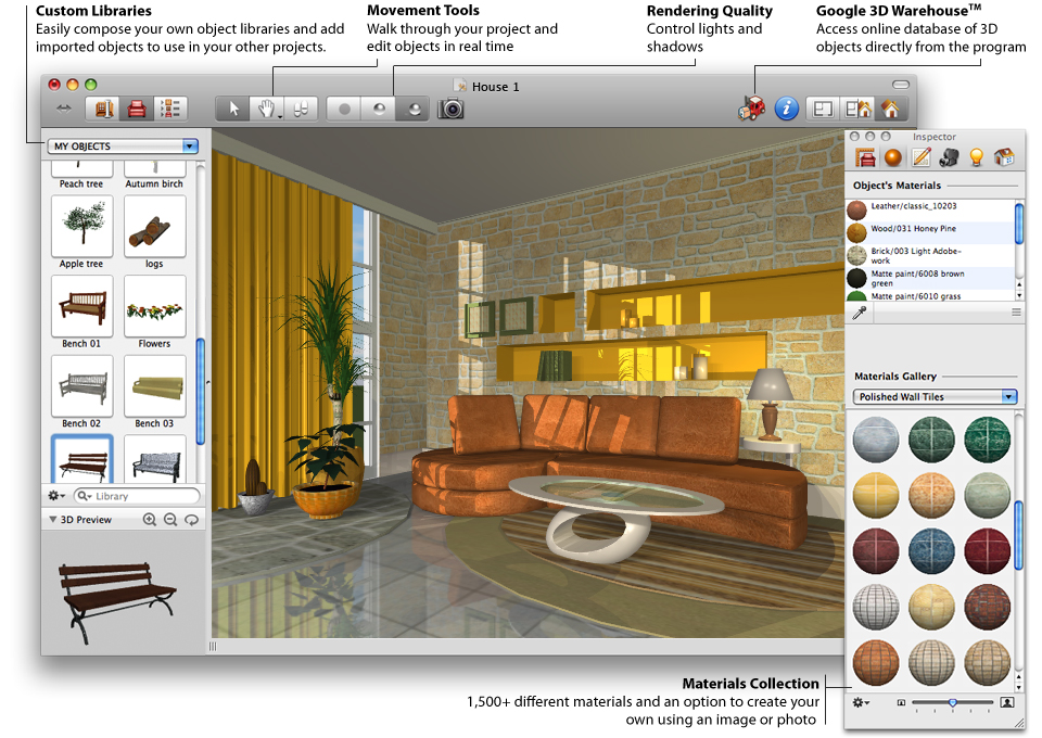 room design in 3 dimension drafted by using home designer software