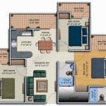 A home sketch with three bedrooms a dining room kitchen bathroom family room and balcony