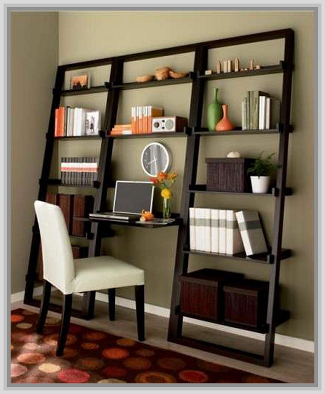 A leaning ladder bookshelf with desk in the center and white cushioned chair - Leaning Ladder Bookcase HomesFeed