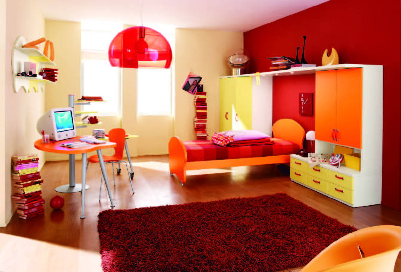 A Modern Design For Kid Bedroom Which Shows An Orange Single Bed Furniture  With Headboard And