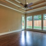 A recessed ceiling fan design with five blades
