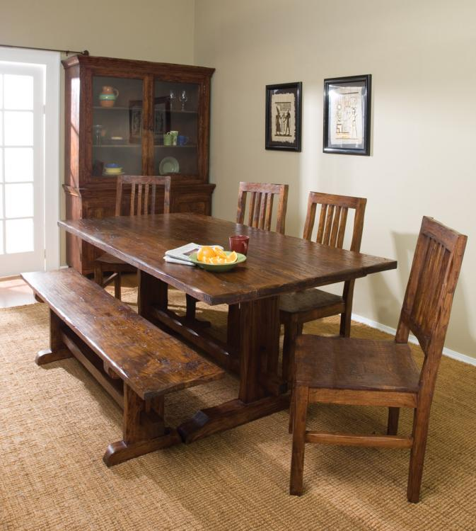 A Set Of Dining Furniture In Rustic And Bench A Hardware Display Cabinet  With Open Glass