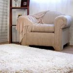 A Thick And Soft White Rug A Reading Chair A Corner Wood Shelf