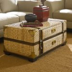 A wonderful trunk coffee table with knitted rattan cover