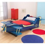 Airplane-toddler-bed-design-by-kidkraft-with-strudy-enginered-wood-construction-and-blue-color-with-stunning-biplane-artwork-and-fit-most-crib-mattresses