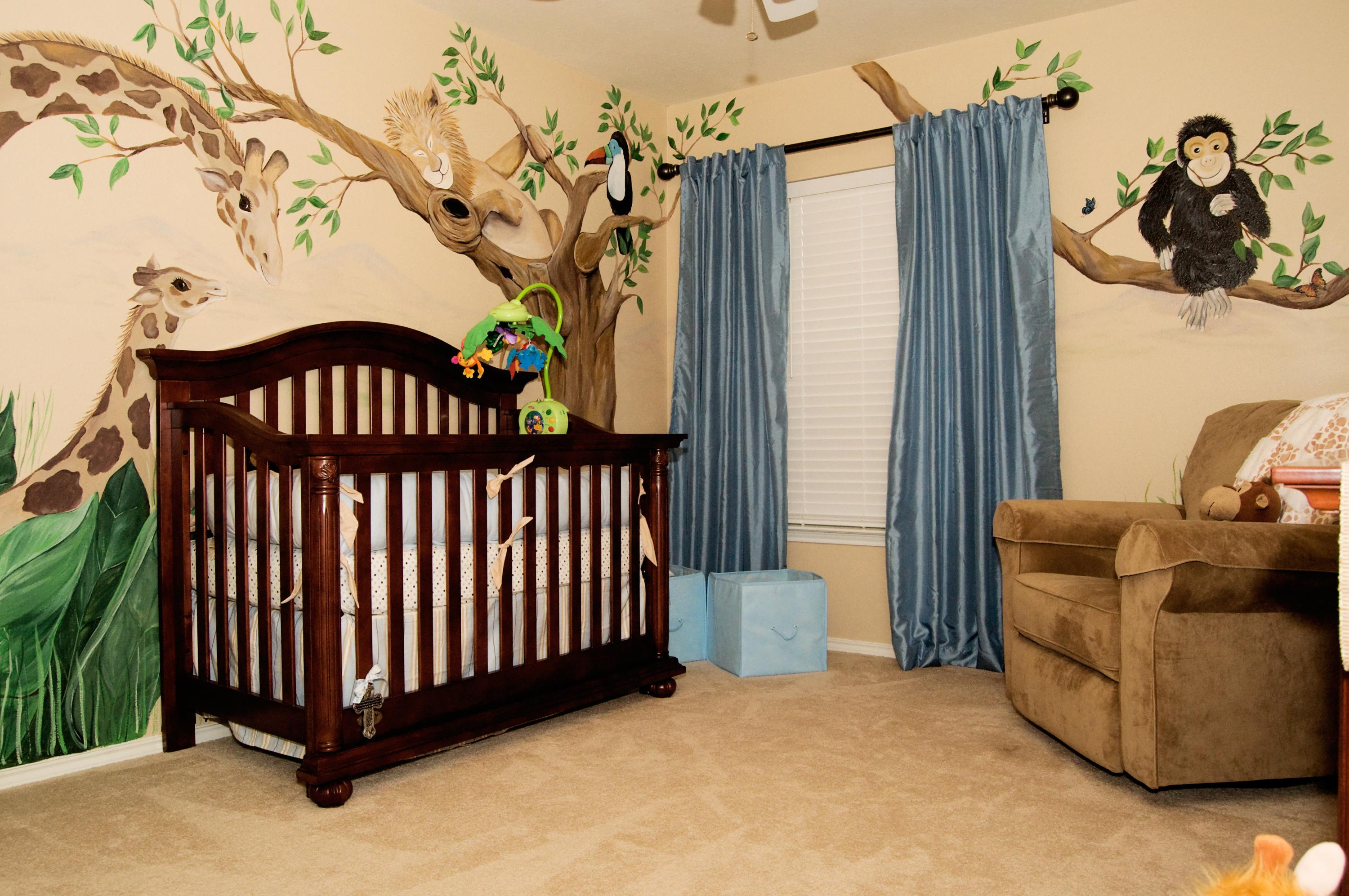 Baby cribs stores - Animal Giraffe Baby Boy Theme Of Bed With Black Wood Crib And Blue Curtain Near Recliner