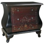 Antique Hand PAinted Bombe Chest Dark Brown