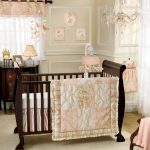 Attractive Baby Room With Pink Theme And Wooden Crib