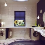 Awesome Bathroom With Fresh Color Round Mirrors White Sink And Laundry Spot
