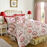 Awesome Decorative Pattern Design With Red And White Color On Pillows Bed Cover Lamps Curtains Rug And Trunk