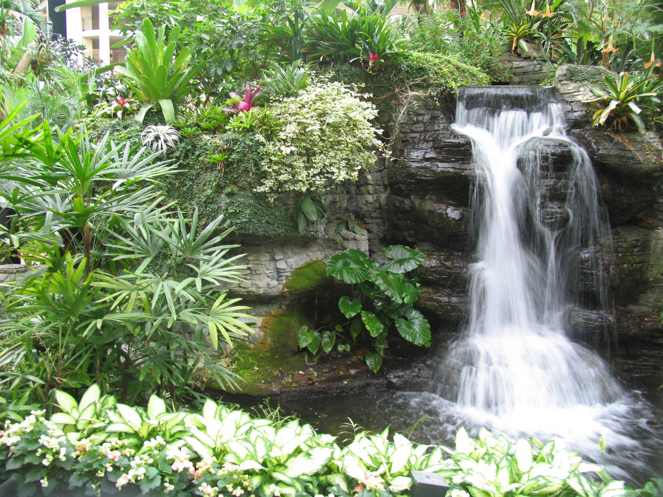 awesome garden home with waterfall in pond - Home And Garden Design Ideas