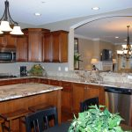 Awesome Kitchen Construction With Wooden Kitchen Set And Marble Counter Top