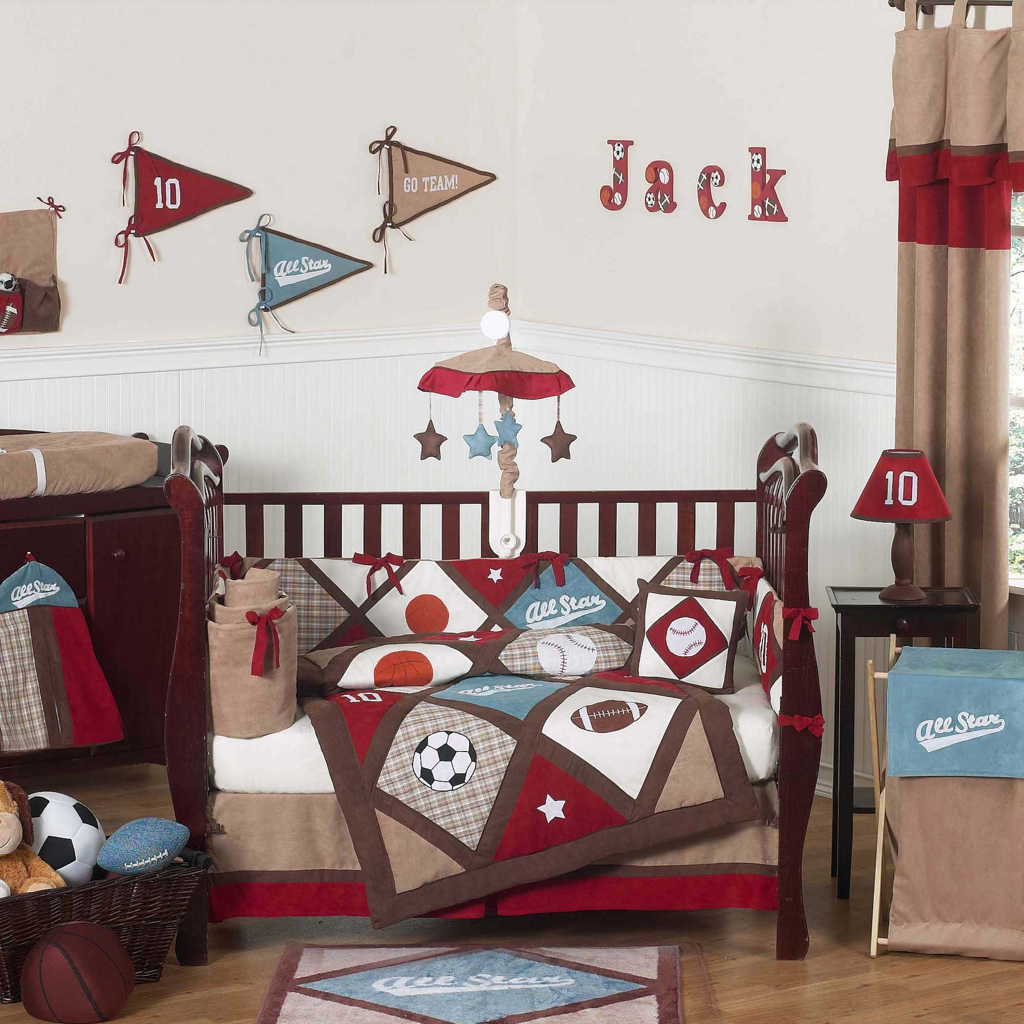 Baby Boy Bed Sport Theme With Wood Crib Best Decor And Cream Curtain Color
