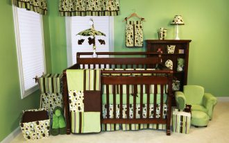 Baby Boy Room With Green Theme And Awesome Design On Curtain Blanket Matters Box And Cabinet