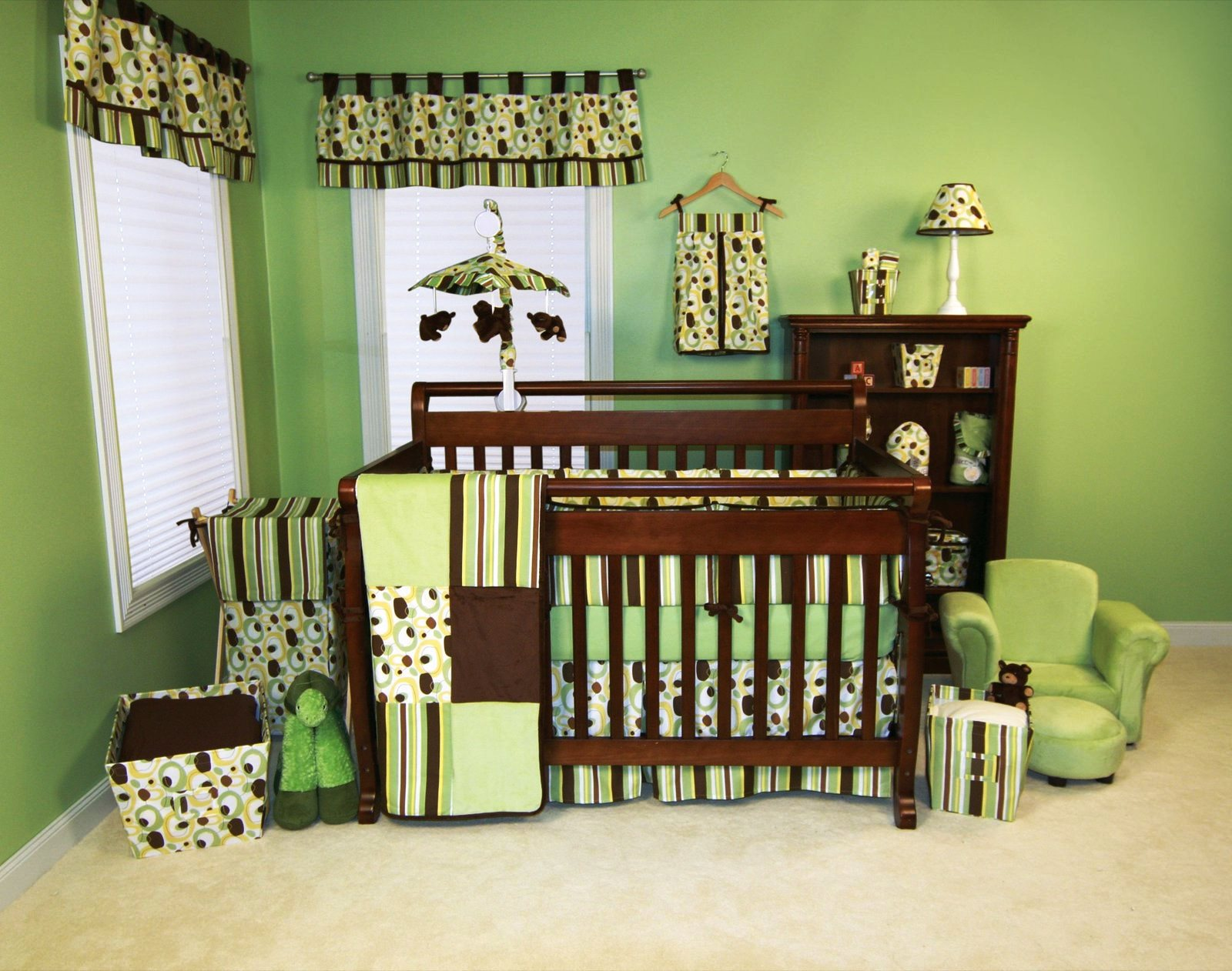 Baby Boy Room With Green Theme And Awesome Design On Curtain Blanket Matters Box Cabinet