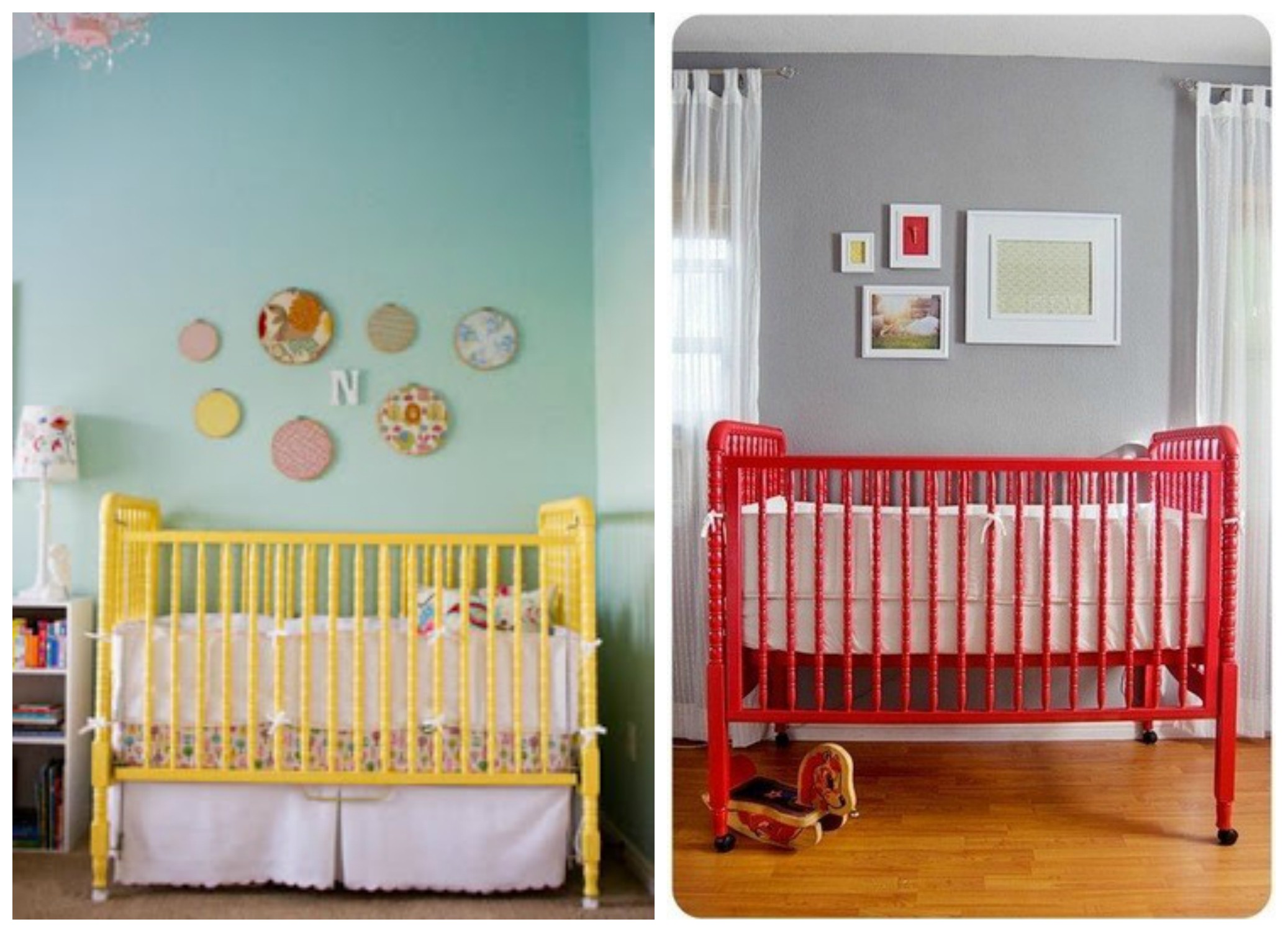 Baby Mod Crib Red And Yellow Soft Mattress And White Metal Furniture Kid
