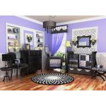 Balck And White Purple Of Baby Room With Black Furniture Wooden Set