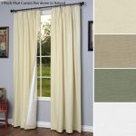 Balckout Curtains With Yellow Cream Color In Room With Blue Paint