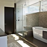 Bathroom Design With Double Sinks Cabinet Fur Rugs Long Tub Glass Door On Shower Area