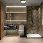 Bathroom Lighting Ideas With Brown Color On Wall Tile Simple Shower Area White Toilet And Unique Sink