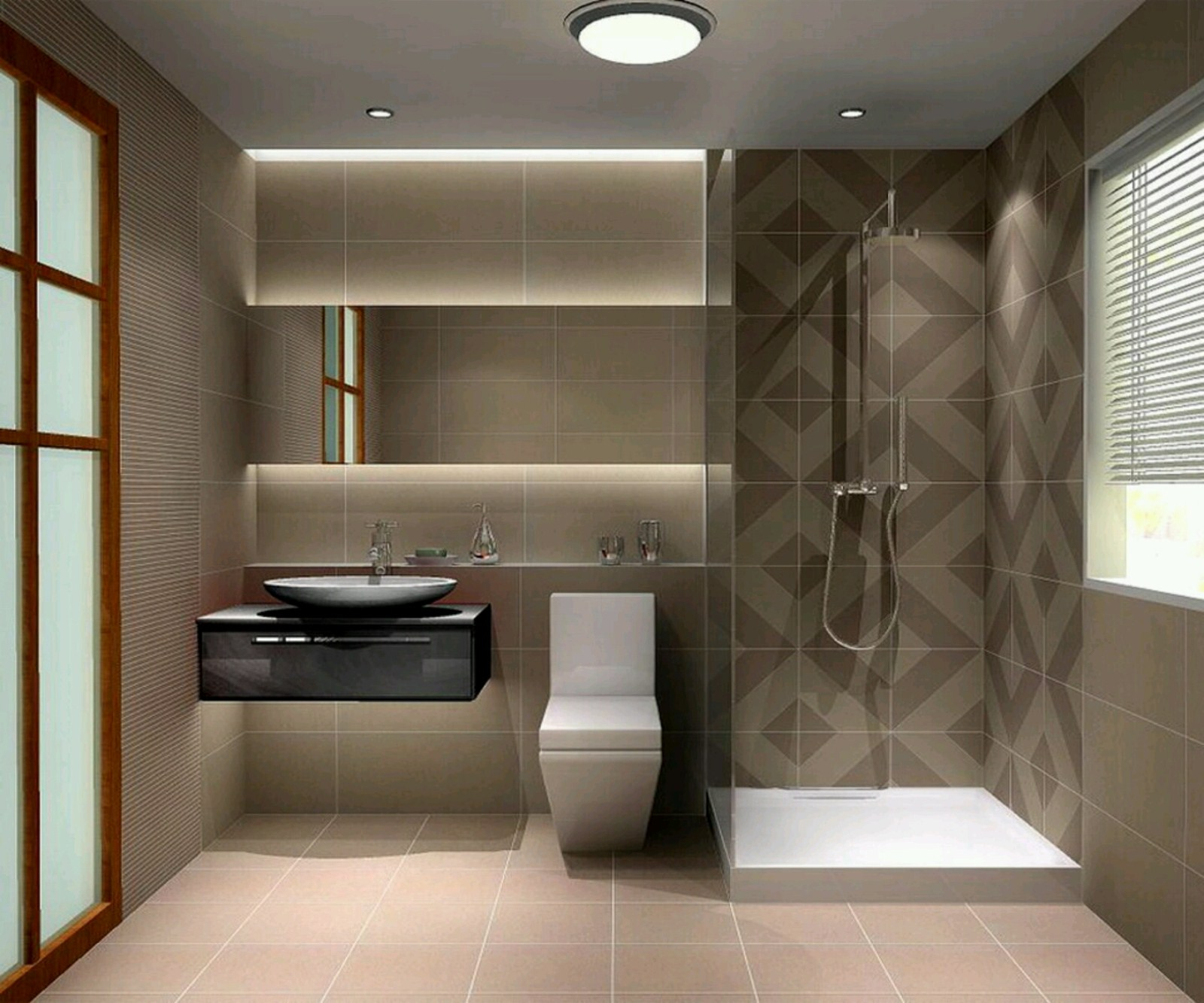 Bathroom Lighting Ideas With Brown Color On Wall Tile Simple Shower Area White Toilet And Unique
