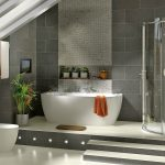 Bathroom With Skylight Ceiling White Bath Tub Glass Door Shower And Grey Wall