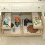 Bathroom cabinet organizer with racks inside cabinet