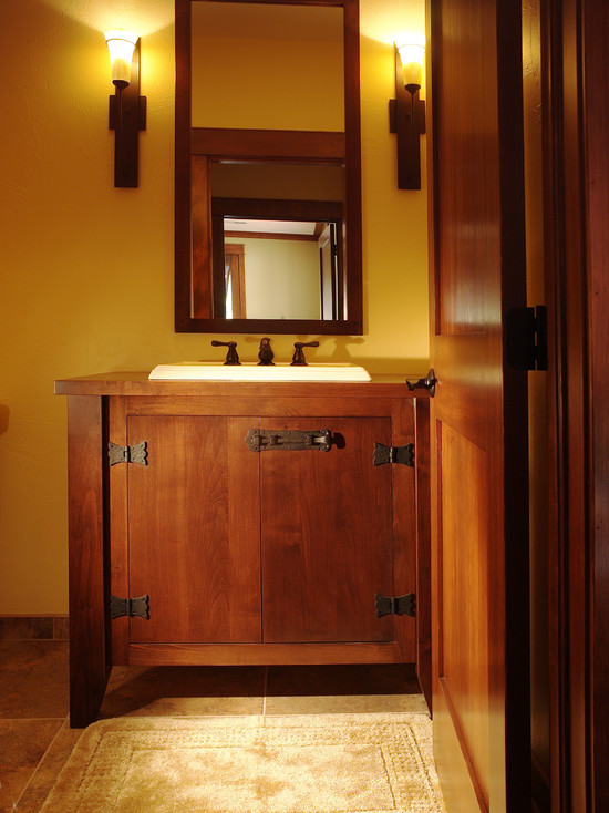 bathroom vanity with sink and faucet in mission style a vanity mirror with wooden frame a