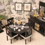 Beautiful Fabric Of Dining Room Wallpaper And Accessories On Round Table With Small Cabinet
