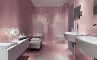 Beautiful Pink Roses Bathroom With White Theme On Sink Cabinet And Chair