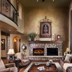 Beautiful Spanish Living Room Style With Rocks Fireplace Warm Furniture And LArge Windows