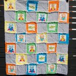 Beautiful and cozy quilt for baby boy with cute pictures