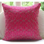 Beautiful pink pillow with beautiful lines as the decoration