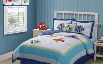 Bedroom White Blue Bedding With Fish Decoration And Sea Style