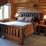 Bedroom design with mission style wooden bed frame a pair of bedside tables with table lamps