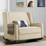 Beige-baby-relax-hedley-double-rocking-chair-with-cat-doll-stripped-white-blue-grey-cushion-and-grey-shawl-also-three-pictures-on-grey-wall-and-white-window-and-brown-floor