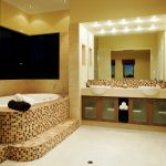 Best Bathroom Interior With Stylish Tile Two Sinks Square Mirror With Lighting And Towel Hanger
