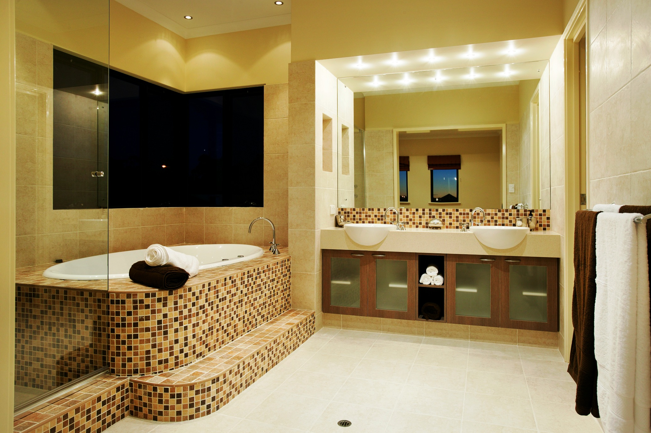 best decoration of bathroom homesfeedbest bathroom interior with stylish tile two sinks square mirror with lighting and towel hanger