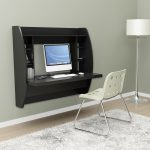Black Floating Desk With Storage And White Chair And Fur Rug