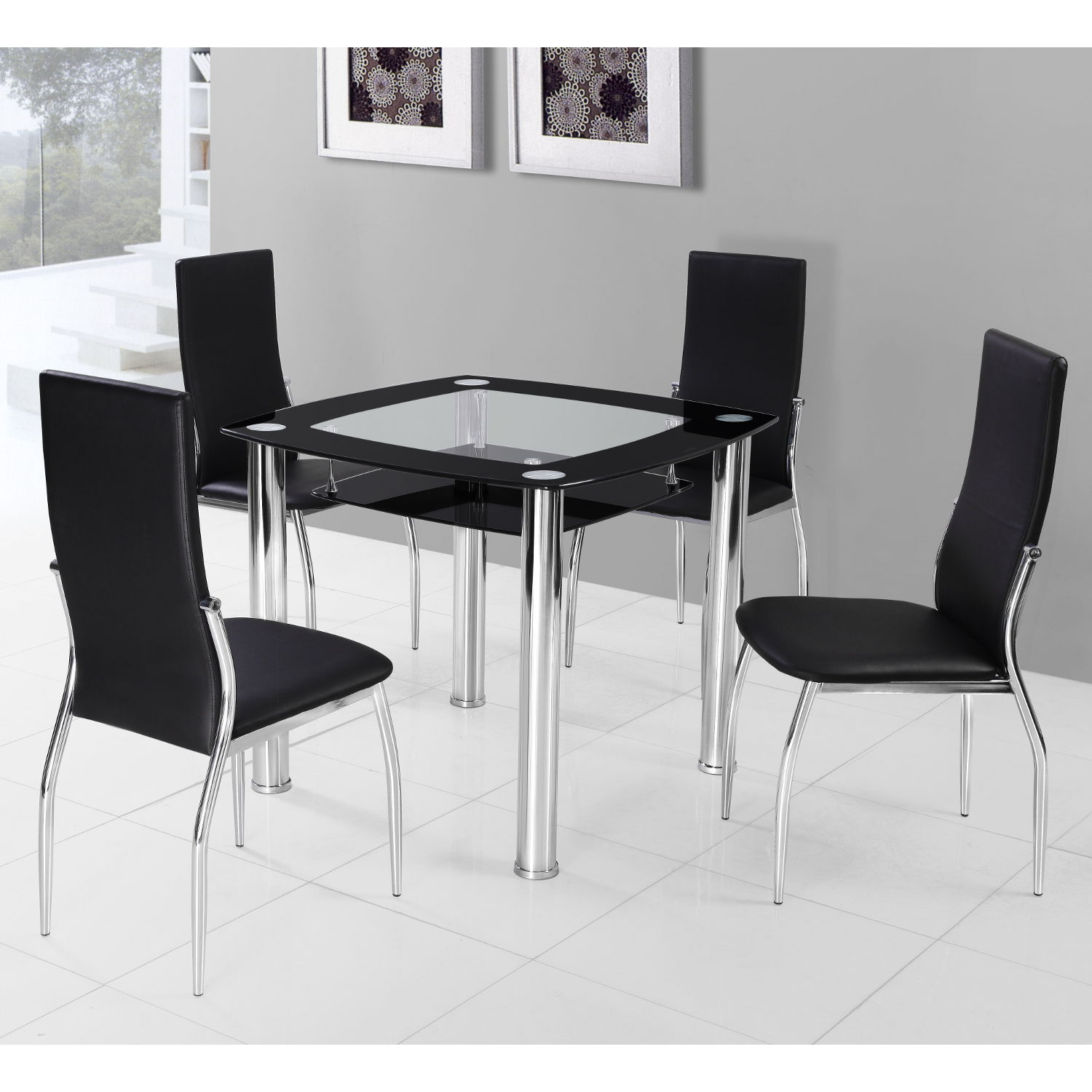 Black Steel Dining ROom 4 Chairs With Square Glass Table Design