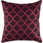 Black accent pillow with pink modern pattern