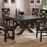 Blackc coated furniture set for dining room with black leather cushioned bench white wool rug