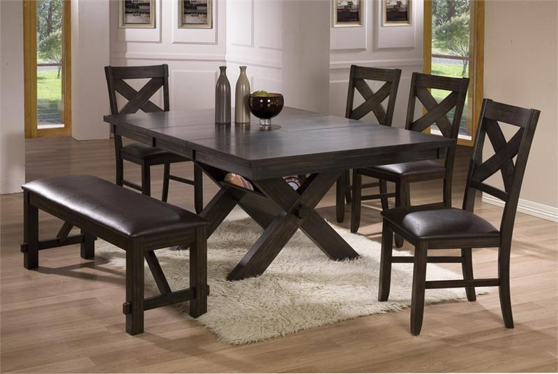 Blackc coated furniture set for dining room with black leather cushioned  bench white wool rug. Dining Room Tables with Benches   HomesFeed