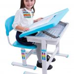 Blue And White Color For Kids Desk And Its Chair