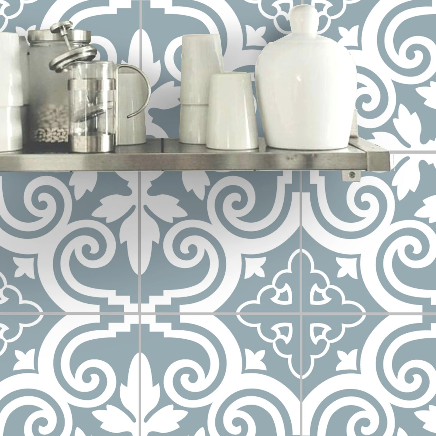Blue And White Stylish Pattern Removable Wall Sticker With Ingredients  Shelf · Colorful Removable Tile