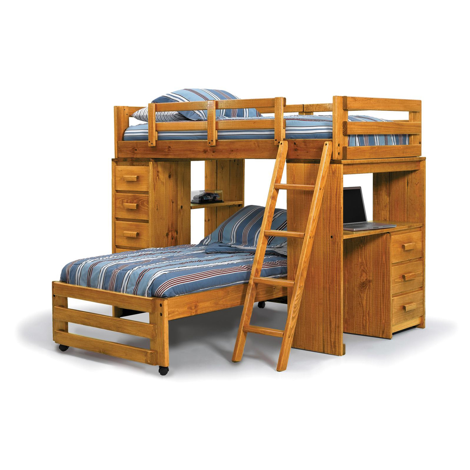 Wood bunk beds with desk - Blue Bed For Twins With Wooden Bunk Bed Design And Its Desk